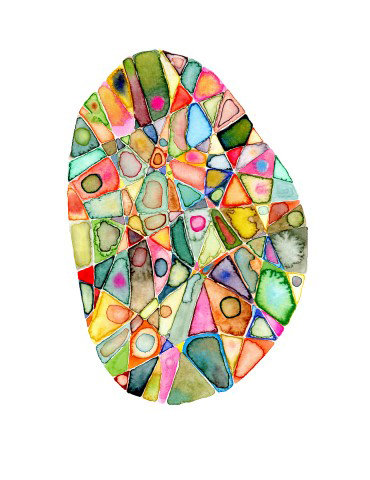 Oval shaped water color painting in many different colors.