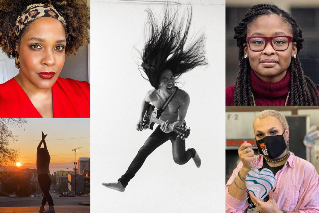 Image description: Photo collage of participating artists including Ijeoma Oluo, a light-skinned Black woman wearing a leopard headband, a red top, and red lipstick; Daniel Pak, an Asian man with long hair jumping in the air and holding a guitar; Leija Farr, a young Black woman with long brown braids wearing maroon glasses and a maroon turtleneck sweater; a Pacific Northwest Ballet dancer mid-dance outdoors, silhouetted against the sun setting over the Puget Sound; a Hilltop Artists glass artist with short blonde hair, wearing a black face mask and a pink shirt, holding a white and blue blown glass art piece.